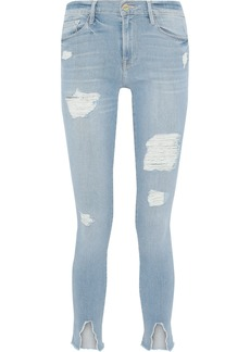 Frame Woman Le Skinny De Jeanne Distressed Mid-rise Skinny Jeans Light Denim