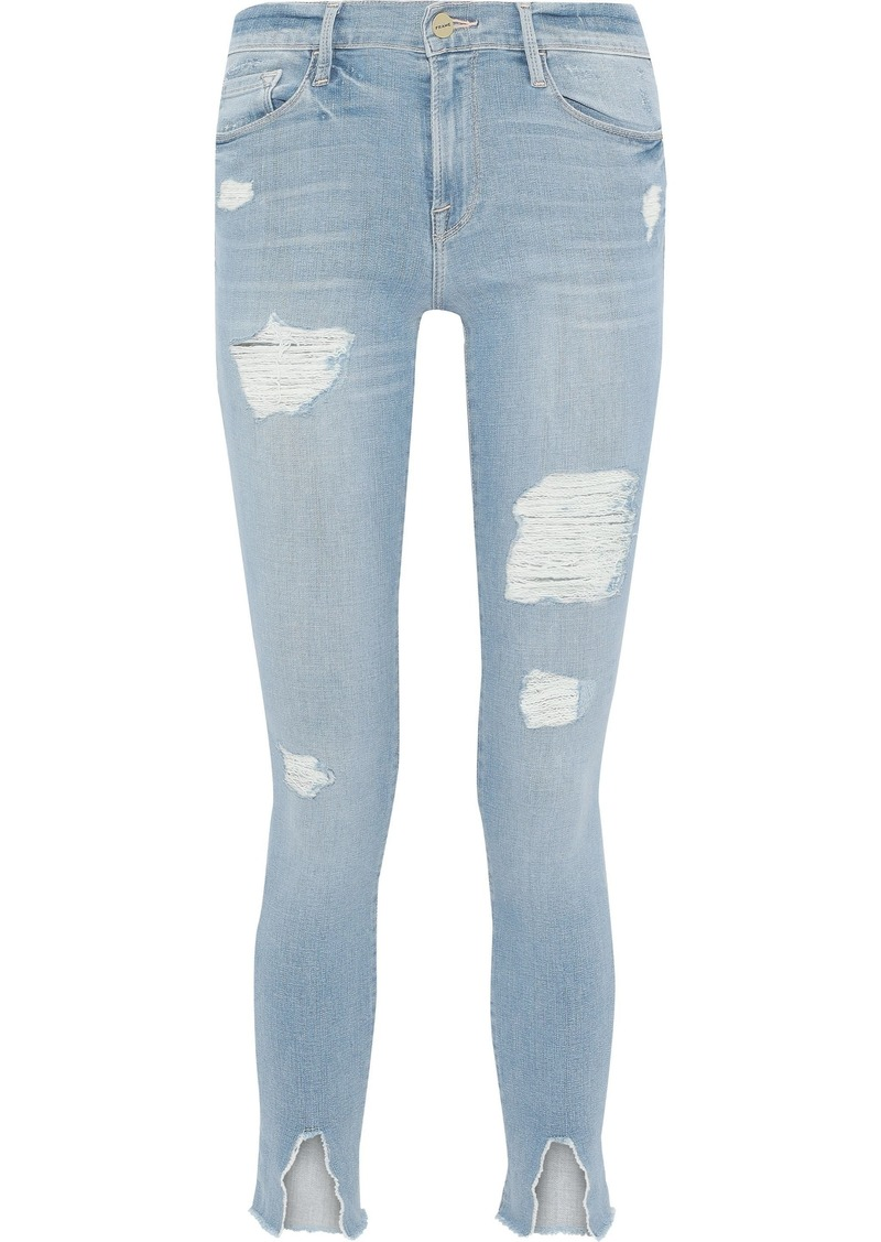 Frame Woman Le Skinny De Jeanne Distressed Mid-rise Skinny Jeans Light Denim