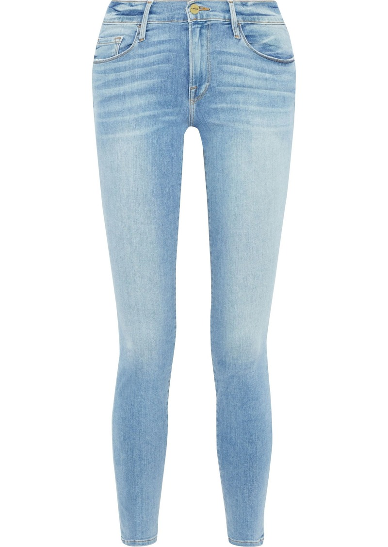 Frame Woman Le Skinny De Jeanne Faded Low-rise Skinny Jeans Mid Denim