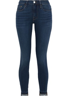 Frame Woman Le Skinny De Jeanne Frayed Low-rise Skinny Jeans Dark Denim