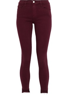 Frame Woman Le Skinny De Jeanne Cropped Mid-rise Skinny Jeans Burgundy