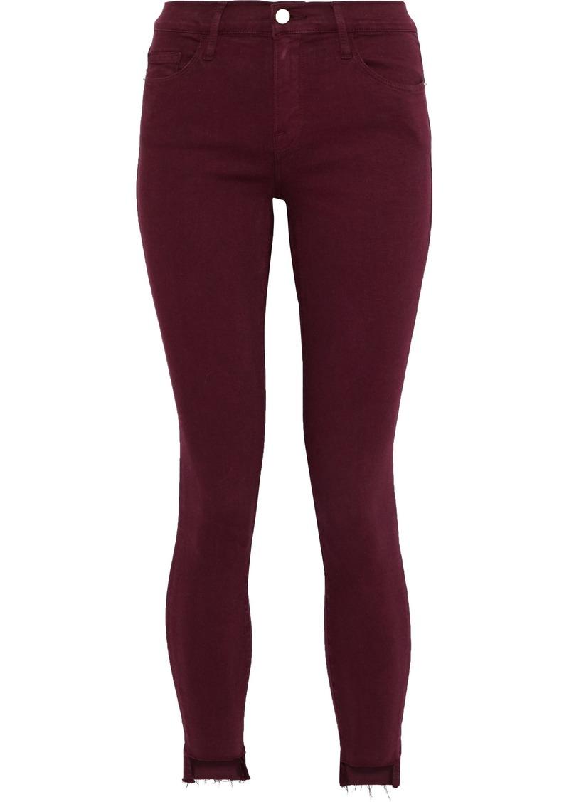 Frame Woman Le Skinny De Jeanne Cropped Mid-rise Skinny Jeans Burgundy