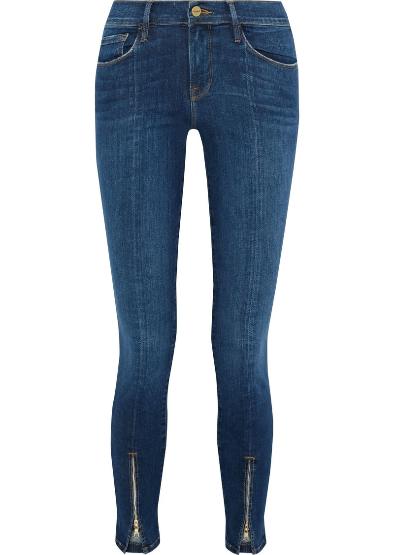 Frame Woman Le Skinny De Jeanne Frayed Mid-rise Skinny Jeans Dark Denim