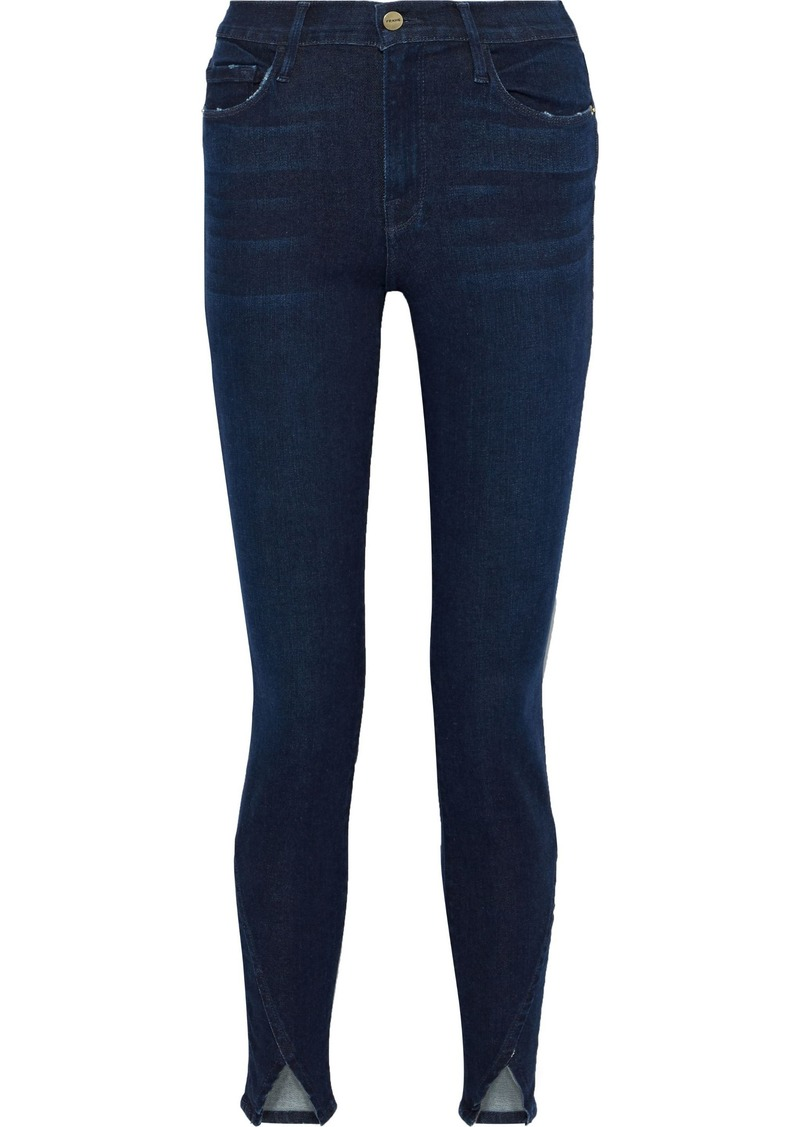Frame Woman Le Skinny De Jeanne Slit-front Mid-rise Skinny Jeans Dark Denim