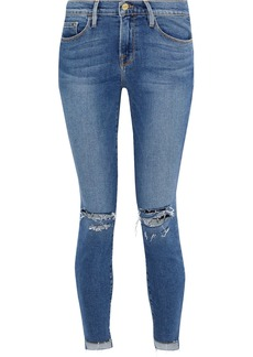 Frame Woman Le Skinny Distressed Mid-rise Skinny Jeans Mid Denim