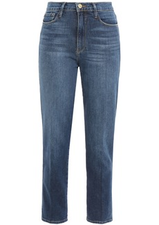 Frame Woman Le Sylvie Cropped Faded High-rise Slim-leg Jeans Mid Denim
