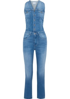 Frame Woman Le Slender Faded Denim Jumpsuit Mid Denim