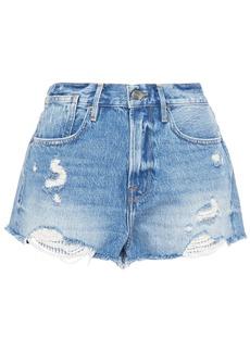 Frame Woman Le Stevie Distressed Denim Shorts Mid Denim