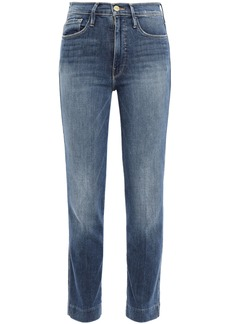 Frame Woman Le Sylvie Faded High-rise Slim-leg Jeans Mid Denim