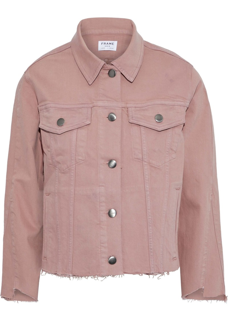 Frame Woman Le Triangle Gusset Frayed Denim Jacket Blush