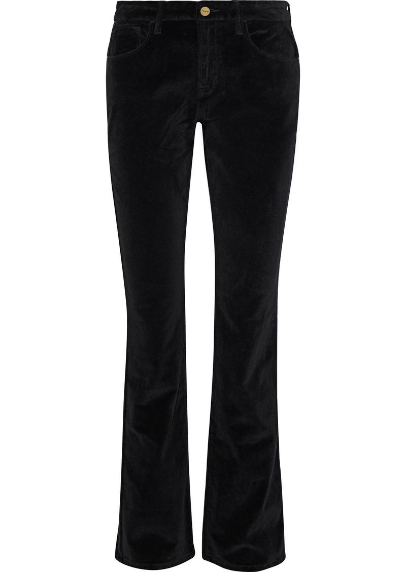 Frame Woman Le Velveteen Velvet Bootcut Pants Black