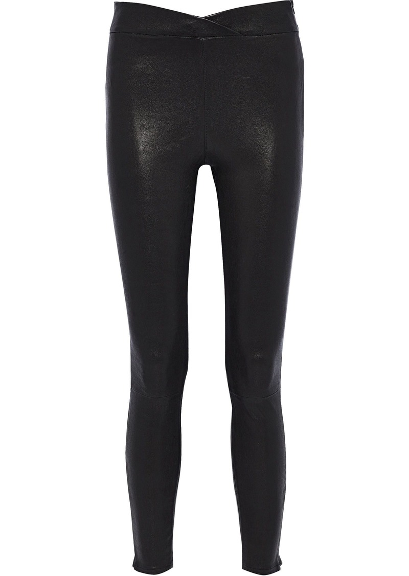 Frame Woman Leather Leggings Black