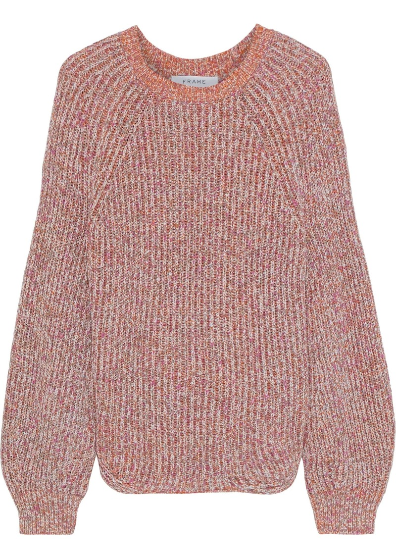 Frame Woman Marled Ribbed Cotton-blend Sweater Peach