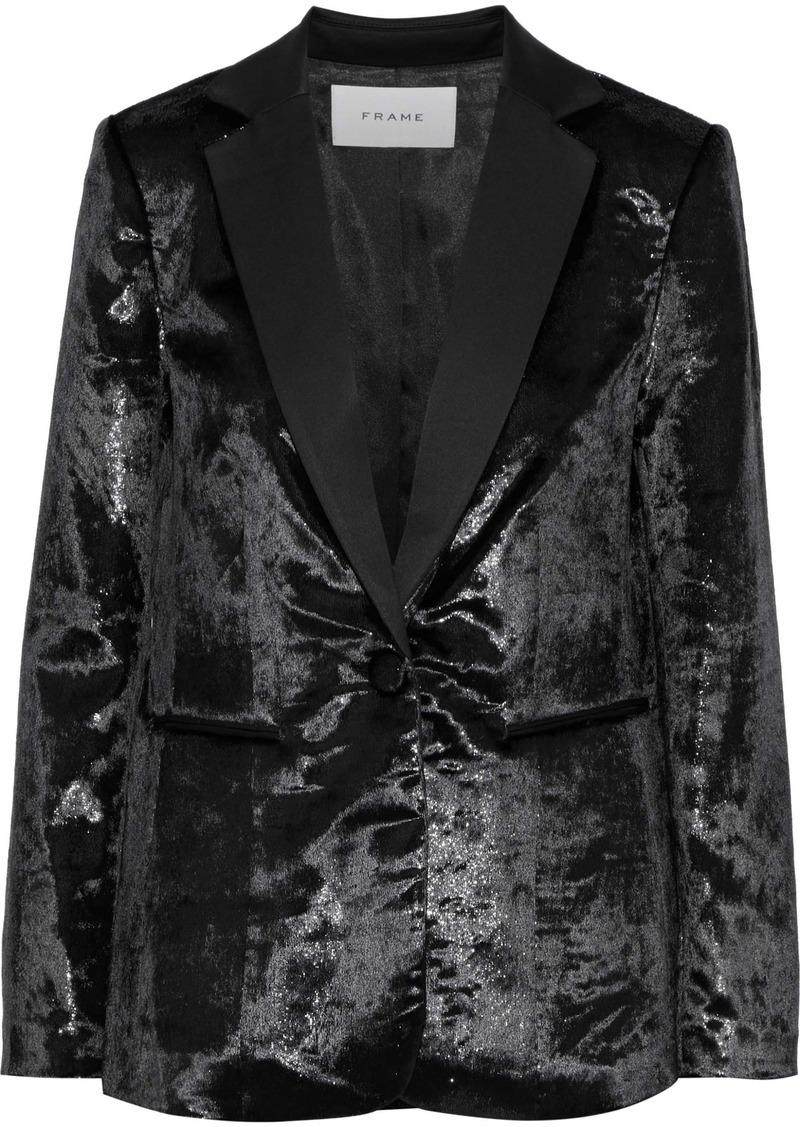Frame Woman Metallic Velvet Blazer Black