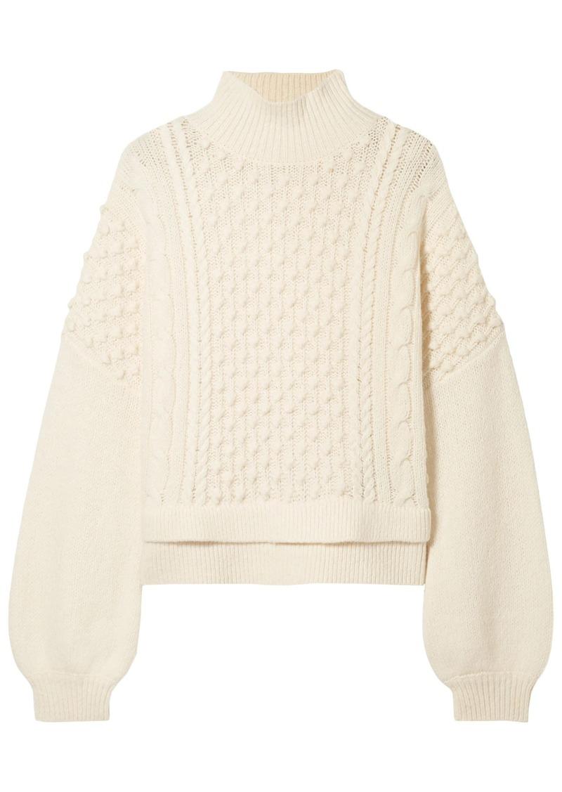 Frame Woman Nubby Wool-blend Turtleneck Sweater Cream