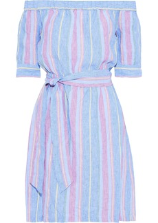 Frame Woman Off-the-shoulder Striped Linen Mini Dress Light Blue