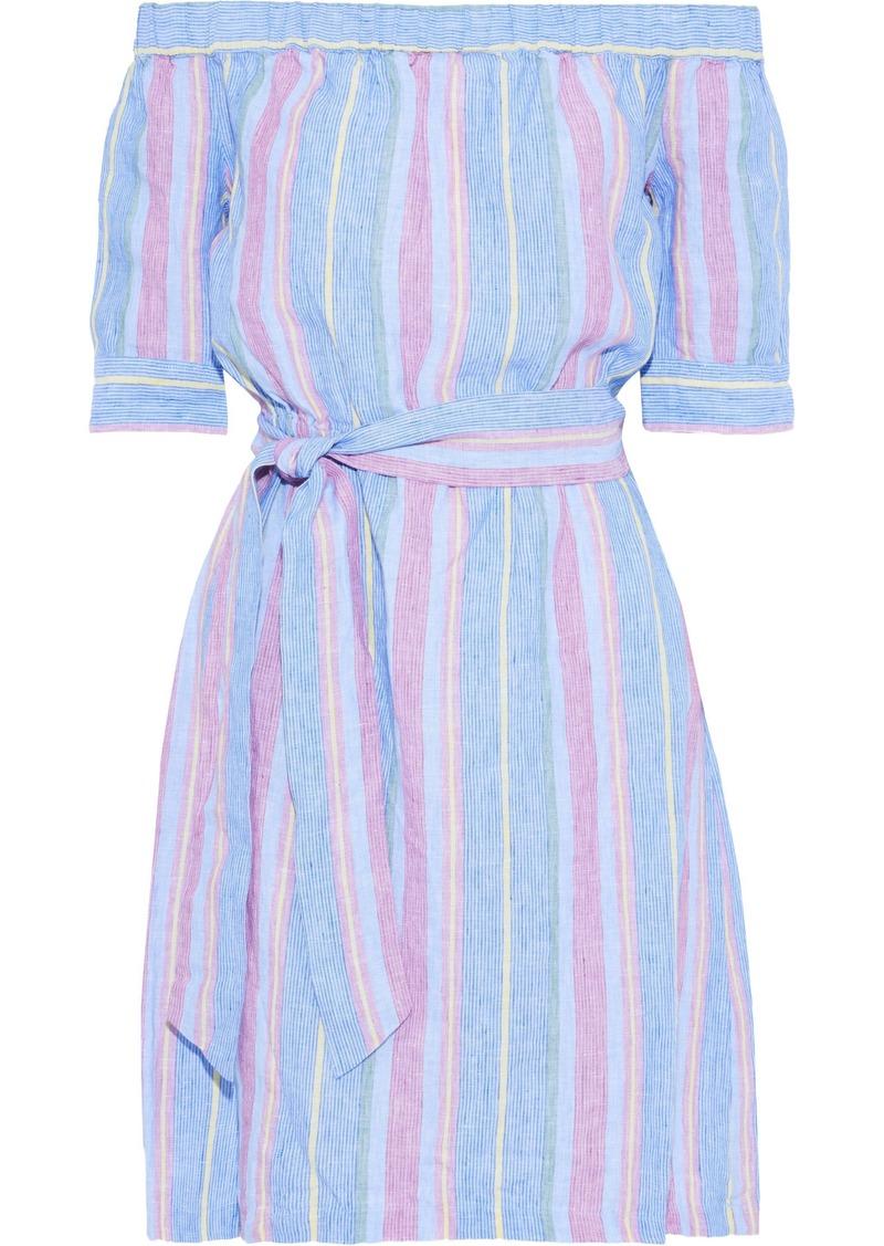 Frame Woman Off-the-shoulder Striped Linen Mini Dress Light Blue
