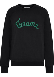 Frame Woman Old School Embroidered Cotton-blend Fleece Sweatshirt Black