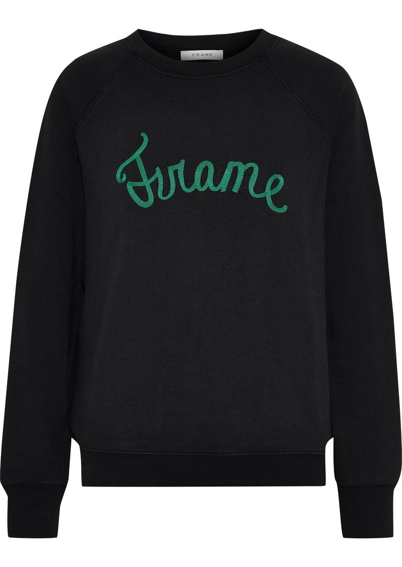 Frame Woman Old School Embroidered Cotton-blend Fleece Sweatshirt Black