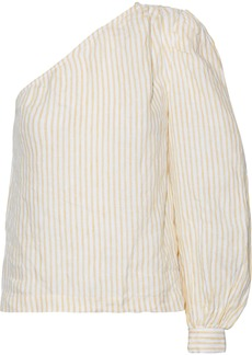 Frame Woman One-shoulder Striped Linen Top Pastel Yellow