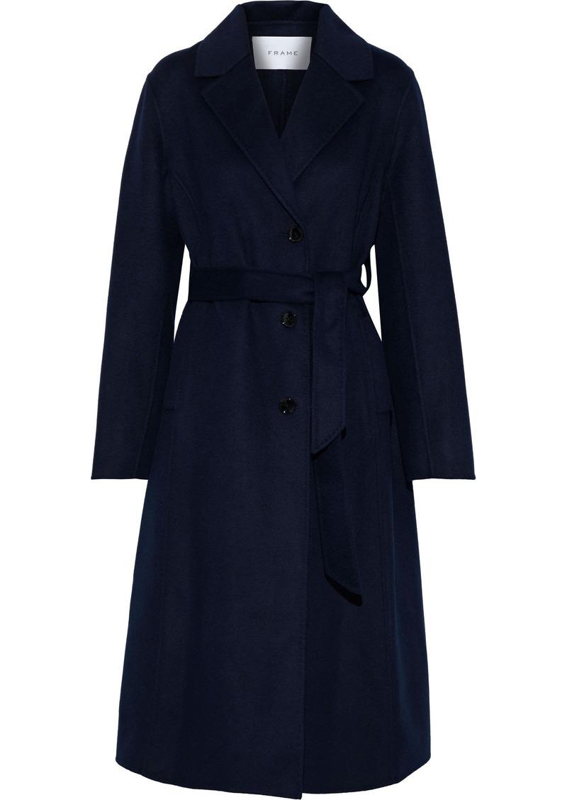 Frame Woman Belted Wool-blend Coat Navy