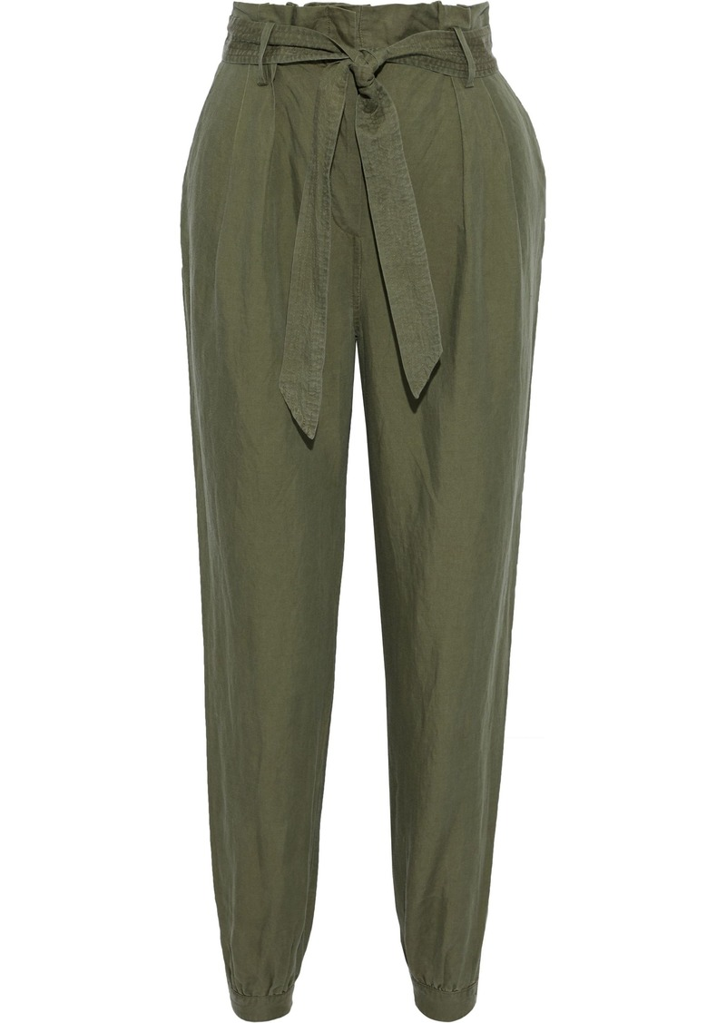 Frame Woman Paperbag Belted Linen-blend Tapered Pants Army Green