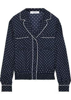 Frame Woman Pj Polka-dot Washed-silk Shirt Navy