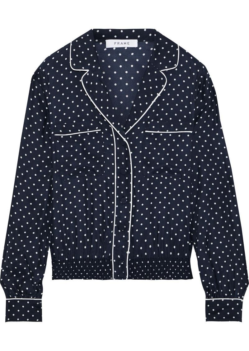 Frame Woman Pj Polka-dot Washed-silk Shirt Navy
