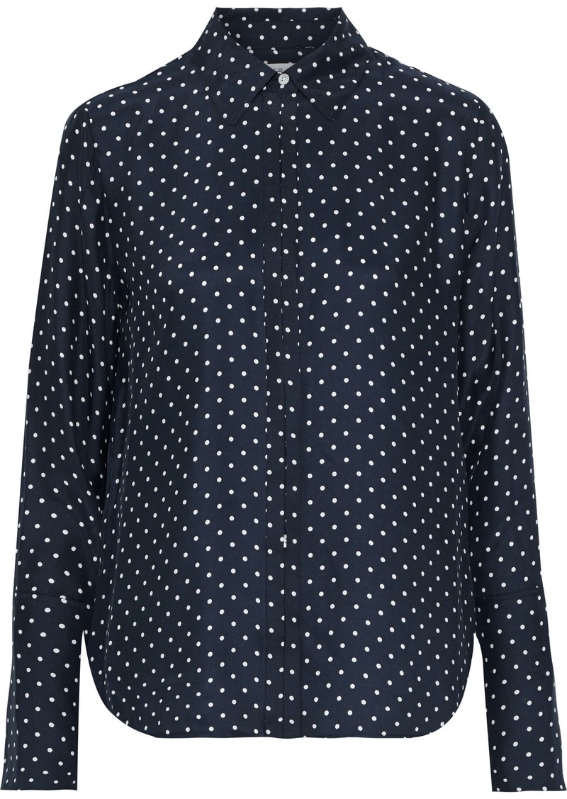 Frame Woman Polka-dot Washed-silk Shirt Navy