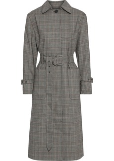 Frame Woman Prince Of Wales Checked Woven Trench Coat Gray