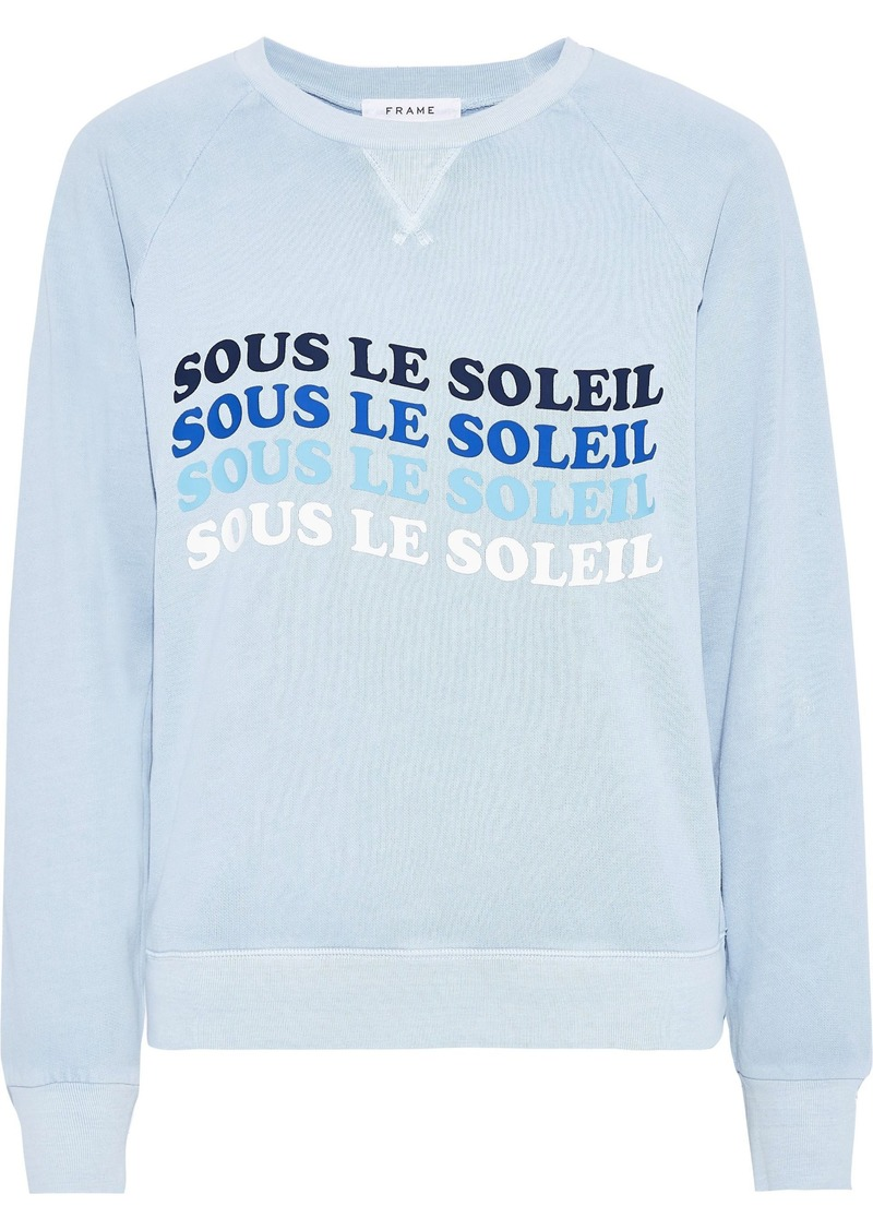Frame Woman Printed French Cotton-terry Sweatshirt Light Blue