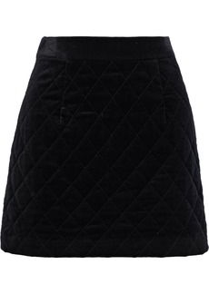 Frame Woman Quilted Cotton-blend Velvet Mini Skirt Black