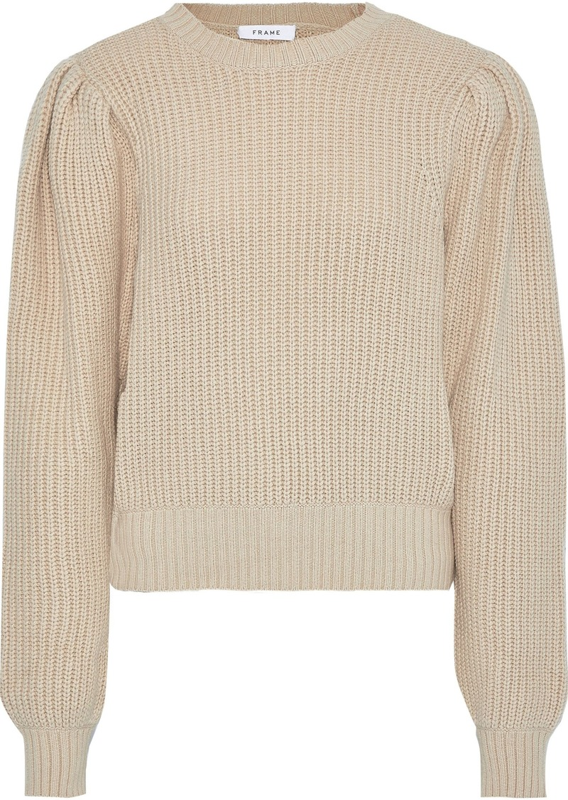 Frame Woman Ribbed Cotton-blend Sweater Neutral
