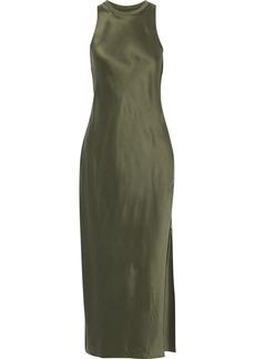 Frame Woman Ribbed Jersey-paneled Silk-charmeuse Maxi Dress Army Green