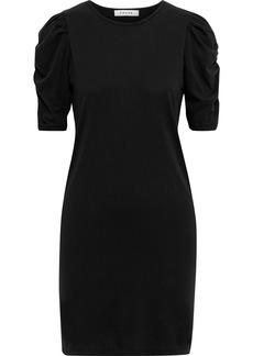 Frame Woman Ruched Cotton-jersey Mini Dress Black