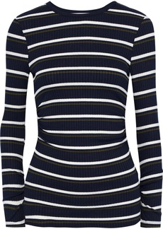 Frame Woman Ruched Striped Ribbed-knit Top Navy