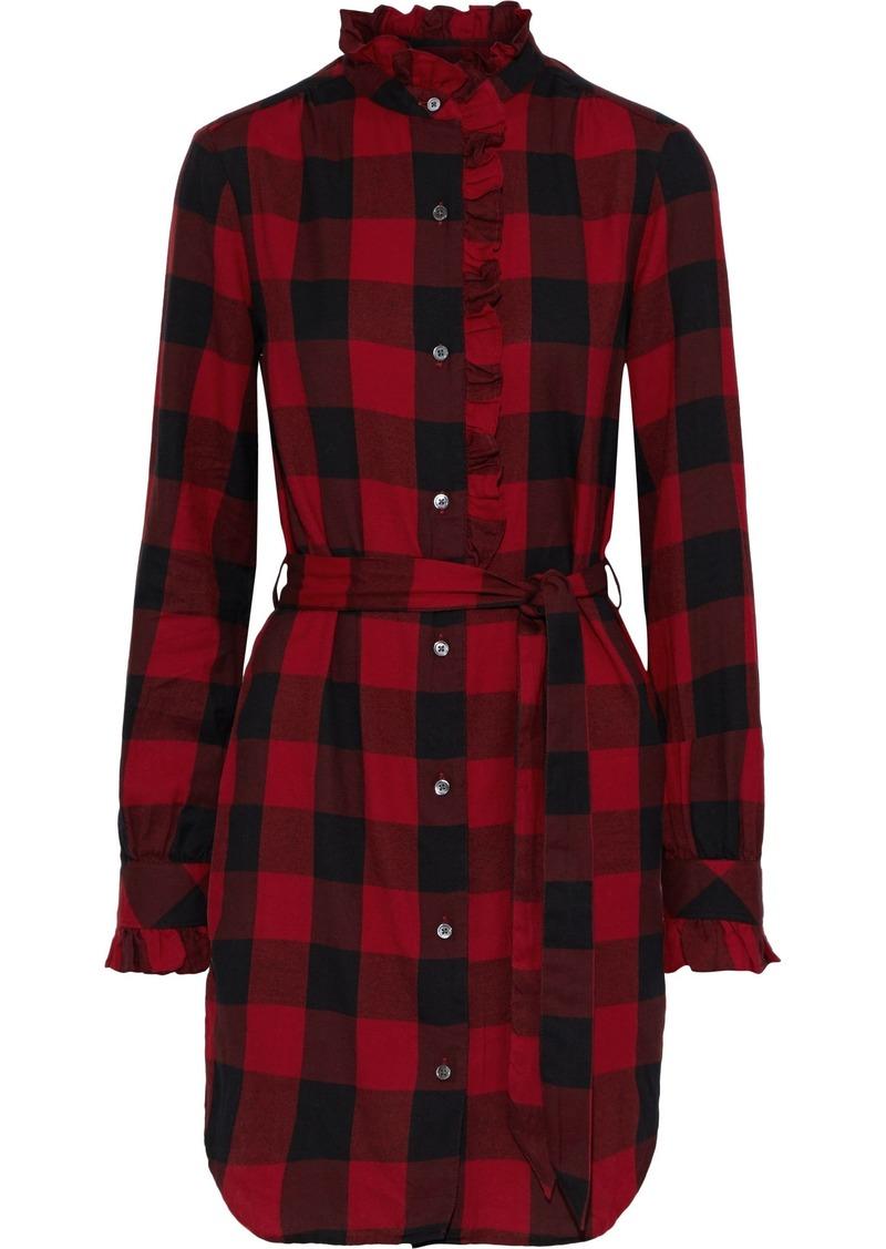 Frame Woman Ruffle-trimmed Checked Cotton-flannel Mini Dress Crimson