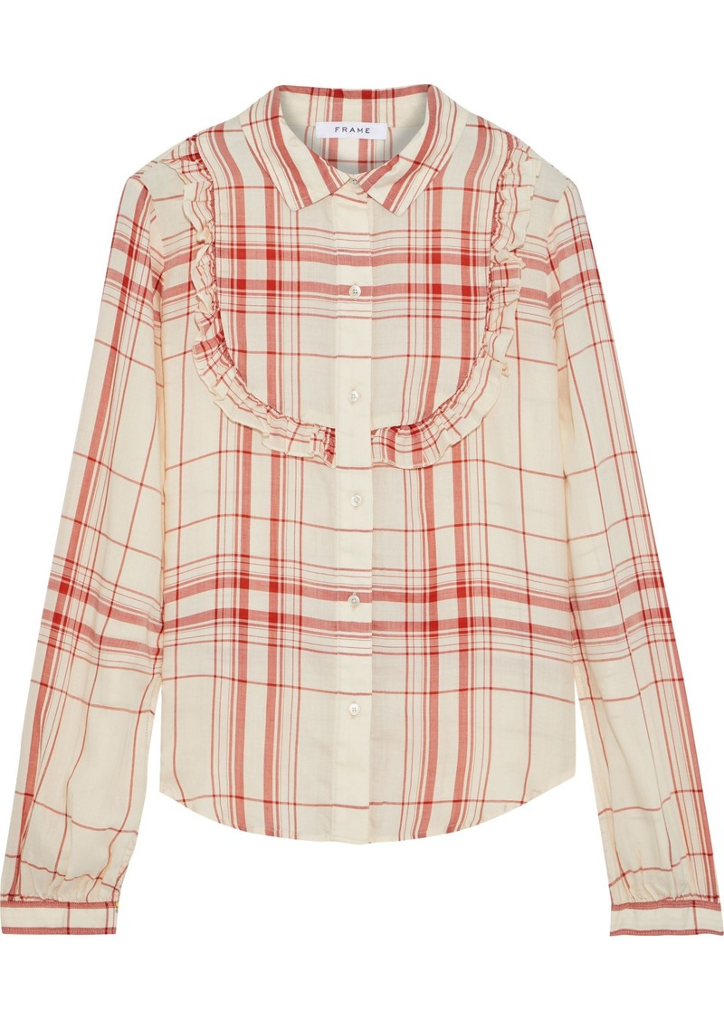 Frame Woman Ruffle-trimmed Checked Tencel-twill Shirt Peach