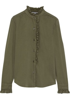 Frame Woman Ruffle-trimmed Cotton-blend Twill Shirt Army Green