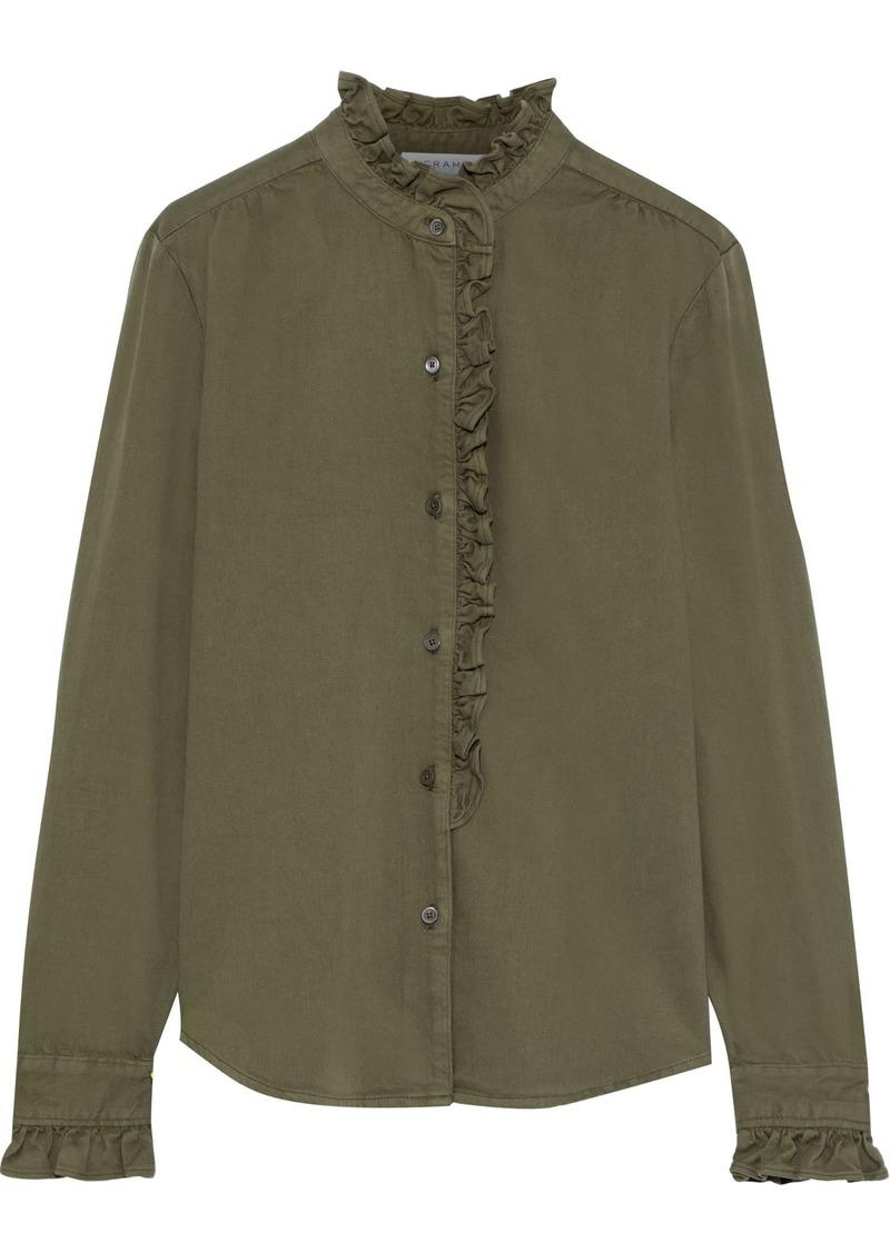 Frame Woman Ruffle-trimmed Cotton-blend Twill Shirt Army Green