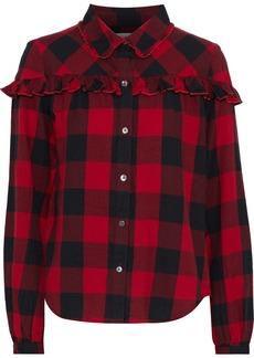 Frame Woman Ruffle-trimmed Gingham Cotton-flannel Shirt Crimson