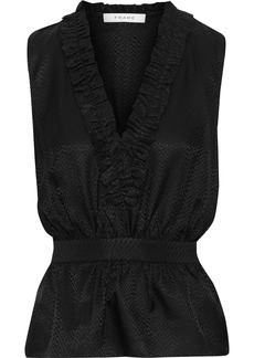 Frame Woman Ruffle-trimmed Satin-jacquard Peplum Top Black