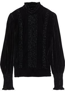 Frame Woman Ruffle-trimmed Shirred Velvet Blouse Black