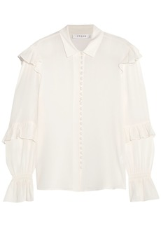 Frame Woman Ruffle-trimmed Silk-georgette Blouse Off-white