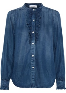 Frame Woman Ruffle-trimmed Tencel-chambray Shirt Mid Denim