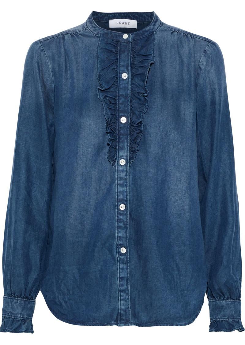 Frame Woman Ruffle-trimmed Tencel-chambray Shirt Mid Denim