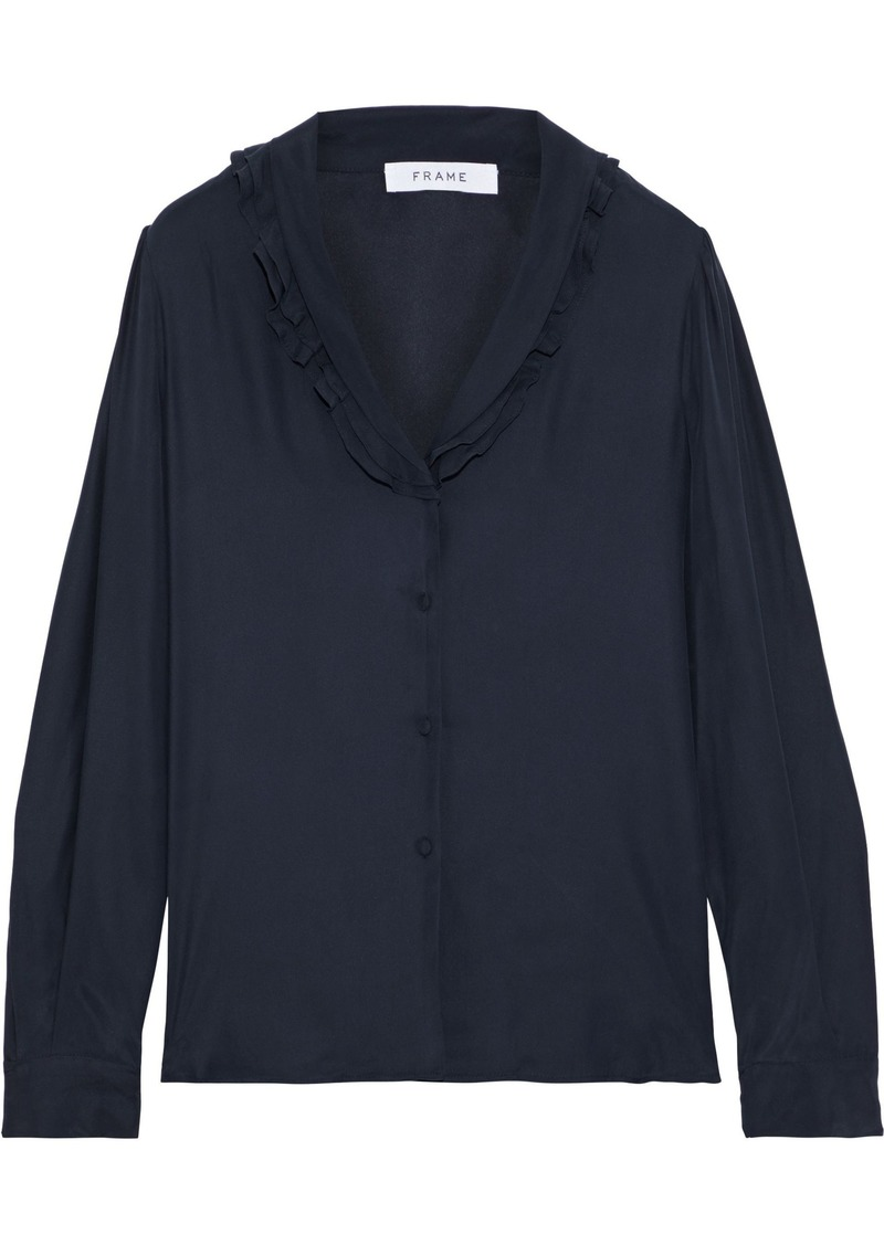 Frame Woman Ruffle-trimmed Washed-silk Blouse Navy