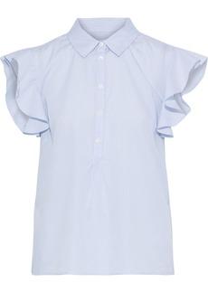 Frame Woman Ruffled Striped Cotton-poplin Top Sky Blue