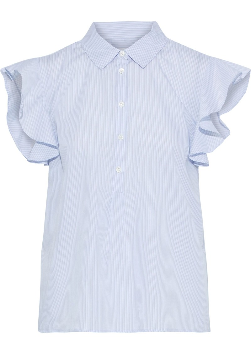 Frame Woman Ruffled Striped Cotton-poplin Top Sky Blue