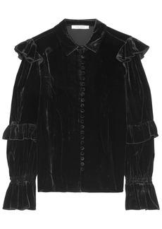 Frame Woman Ruffled Velvet Blouse Black